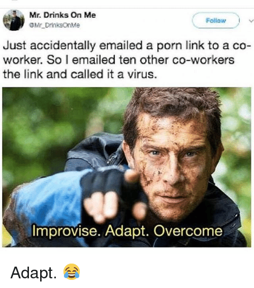 Funny, Link, and Porn: Mr. Drinks On Me  Follow I  Just accidentally emailed a porn link to a co-  worker. So I emailed ten other co-workers  the link and called it a virus.  Improvise. Adapt. Overcome Adapt. 😂