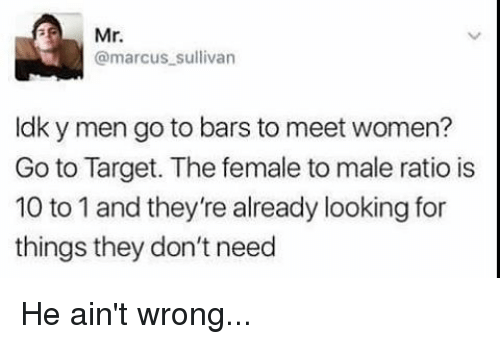 Memes, Mr. Marcus, and Target: Mr.  @marcus sullivan  ldky men go to bars to meet women?  Go to Target. The female to male ratio is  10 to 1 and they're already looking for  things they don't need He ain't wrong...