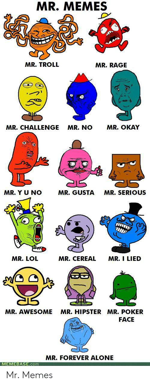 gusta: MR. MEMES  MR. TROLL  MR.RAGE  MR. OKAY  MR.CHALLENGE  MR. NO  MR. Y U NO  MR. GUSTA  MR.SERIOUS  MR. CEREAL  MR. I LIED  MR. LOL  MR.HIPSTER MR. POKER  MR. AWESOME  FACE  MR.FOREVER ALONE  MEMEBASE.com Mr. Memes