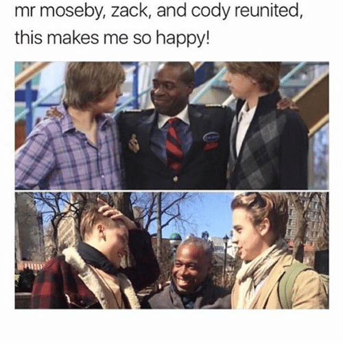 Funny, Happy, and Zack And: mr moseby, zack, and cody reunited,  this makes me so happy!  HND