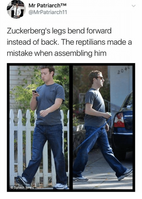 Back, Him, and Made: Mr PatriarchTM  @MrPatriarch11  Zuckerberg's legs bend forward  instead of back. The reptilians made a  mistake when assembling him