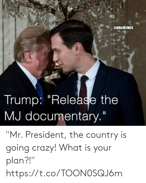 """mr president: """"Mr. President, the country is going crazy! What is your plan?!"""" https://t.co/TOON0SQJ6m"""