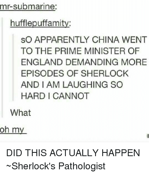 Apparently, England, and Memes: mr-submarine  hufflepuffamit  SO APPARENTLY CHINA WENT  TO THE PRIME MINISTER OF  ENGLAND DEMANDING MORE  EPISODES OF SHERLOCK  AND I AM LAUGHING SO  HARD I CANNOT  What  oh my DID THIS ACTUALLY HAPPEN  ~Sherlock's Pathologist
