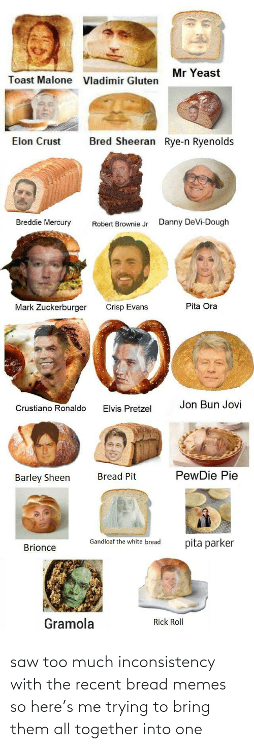 Mercury: Mr Yeast  Toast Malone  Vladimir Gluten  Bred Sheeran Rye-n Ryenolds  Elon Crust  Breddie Mercury  Danny DeVi-Dough  Robert Brownie Jr  Pita Ora  Mark Zuckerburger  Crisp Evans  Jon Bun Jovi  Crustiano Ronaldo  Elvis Pretzel  PewDie Pie  Bread Pit  Barley Sheen  Gandloaf the white bread  pita parker  Brionce  Gramola  Rick Roll saw too much inconsistency with the recent bread memes so here's me trying to bring them all together into one