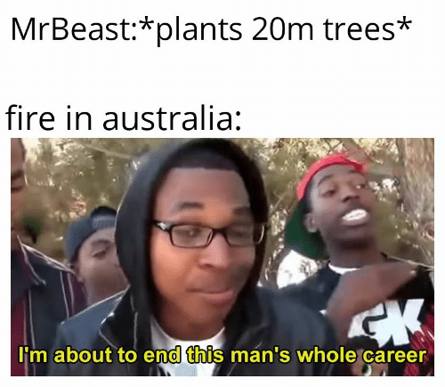 plants: MrBeast:*plants 20m trees*  fire in australia:  CK  I'm about to end this man's whole career