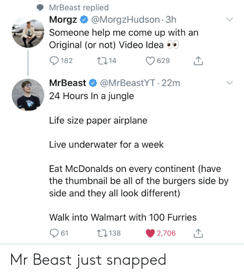 jungle: MrBeast replied  Morgz@MorgzHudson 3h  Someone help me come up with an  Original (or not) Video Idea  t14  182  629  MrBeast  @MrBeastYT.22m  24 Hours In a jungle  Life size paper airplane  Live underwater for a week  Eat McDonalds on every continent (have  the thumbnail be all of the burgers side by  side and they all look different)  Walk into Walmart with 10O Furries  138  61  2,706 Mr Beast just snapped