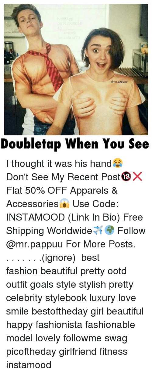 Off: @mrpappuu  Doubletap When You See I thought it was his hand😂 Don't See My Recent Post🔞❌ Flat 50% OFF Apparels & Accessories😱 Use Code: INSTAMOOD (Link In Bio) Free Shipping Worldwide✈️🌍 Follow @mr.pappuu For More Posts.⠀ .⠀ .⠀ .⠀ .⠀ .⠀ .⠀ .⠀(ignore) ⠀ best fashion beautiful pretty ootd outfit goals style stylish pretty celebrity stylebook luxury love smile bestoftheday girl beautiful happy fashionista fashionable model lovely followme swag picoftheday girlfriend fitness instamood
