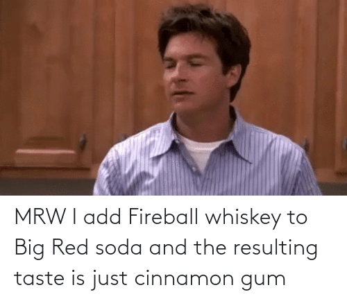 fireball whiskey: MRW I add Fireball whiskey to Big Red soda and the resulting taste is just cinnamon gum