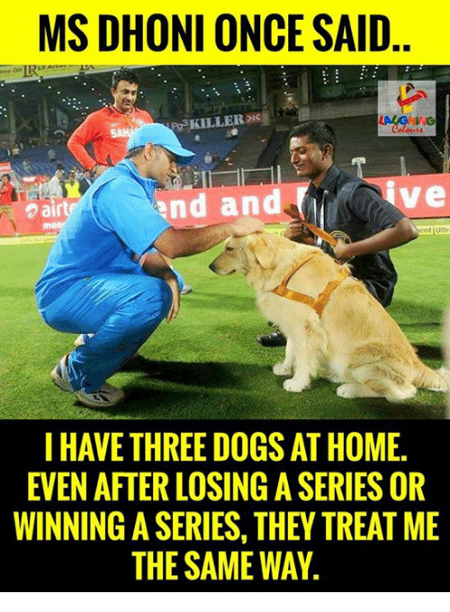 egs: MS DHONI ONCE SAID  eg KILLER  and and  air  Stent uitr  I HAVE THREE DOGS AT HOME.  EVEN AFTER LOSINGASERIES OR  WINNING A SERIES, THEY TREAT ME  THE SAME WAY