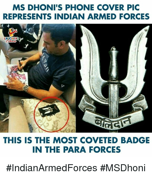badge: MS DHONI'S PHONE COVER PIC  REPRESENTS INDIAN ARMED FORCES  THIS IS THE MOST COVETED BADGE  IN THE PARA FORCES #IndianArmedForces #MSDhoni