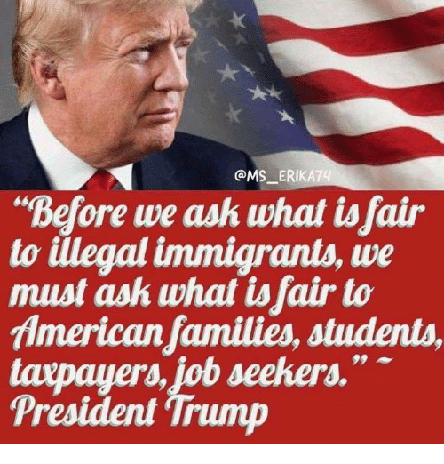 "Memes, American, and Trump: @MS_ ERIKAT  ""Before we ask what isfair  to illegal immigrants, we  must ask what tsfair to  American families, students,  taxpay ""  President 'Trump  ers, job seekers."