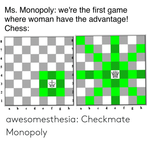 Chess: Ms. Monopoly: we're the first game  where woman have the advantage!  Chess:  8  6  5  3  2  1  ef  d  h  b  gh  f  C  а  а awesomesthesia:  Checkmate Monopoly