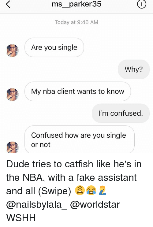 Catfished, Confused, and Dude: ms__parker35  Today at 9:45 AM  Are you single  Why?  My nba client wants to know  I'm confused.  Confused how are you single  or not Dude tries to catfish like he's in the NBA, with a fake assistant and all (Swipe) 😩😂🤦‍♂️ @nailsbylala_ @worldstar WSHH