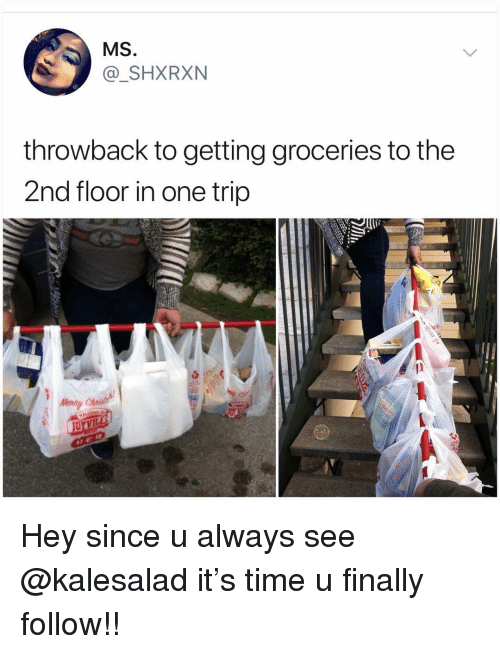 Memes, Time, and 🤖: MS  @_SHXRXN  throwback to getting groceries to the  2nd floor in one trip Hey since u always see @kalesalad it's time u finally follow!!