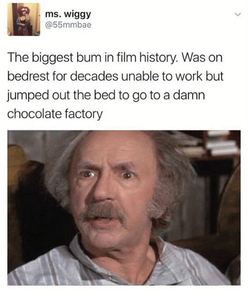 Funny, Work, and Chocolate: ms. Wiggy  55mmbae  The biggest bum in film history. Was on  bedrest for decades unable to work but  jumped out the bed to go to a damn  chocolate factory