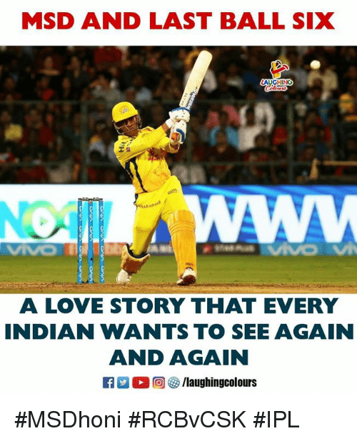 Love, Indianpeoplefacebook, and Ipl: MSD AND LAST BALL SIX  AUGHINO  A LOVE STORY THAT EWERY  NDIAN WANTS TO SEE AGAIN  AND AGAIN #MSDhoni #RCBvCSK #IPL