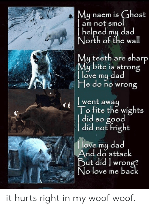 woof: Mu naem is Ghost  am not smol  | helped mų dad  orth ot the wa  My teeth are sharp  My bite is strong  | l  d  ove my da  He do no wrong  l went away  To fite the wights  | did so good  a not fright  love my dad  And do attack  3  ut didwron  o love me bac it hurts right in my woof woof.