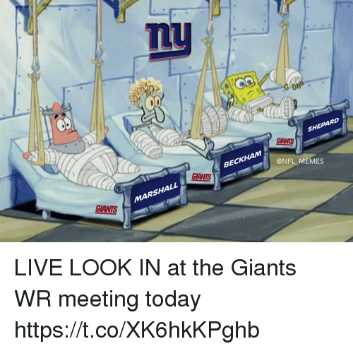 Football, Memes, and Nfl: mu  SHEPARD  GIANTS  BECKHAM  @NFL_MEMES  GIANTS  SHALL  MARSHALL  CIANTS LIVE LOOK IN at the Giants WR meeting today https://t.co/XK6hkKPghb