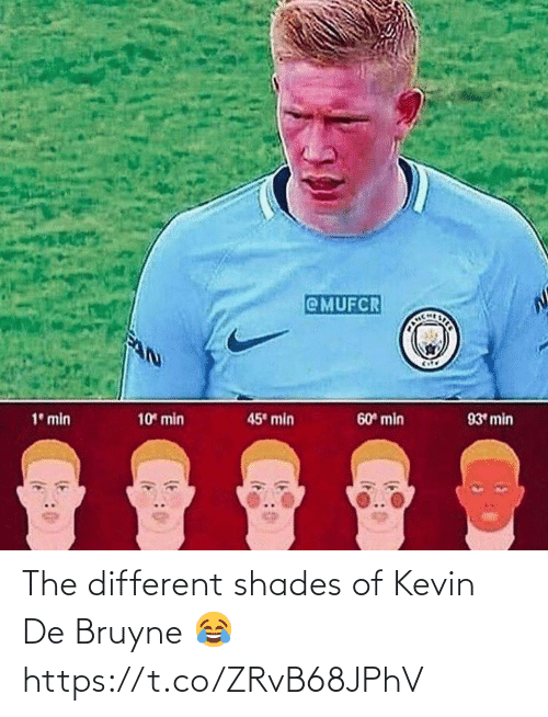 kevin: @MUFCR  CHLSTER  45 min  10 min  60 min  93 min  1° min The different shades of Kevin De Bruyne 😂 https://t.co/ZRvB68JPhV