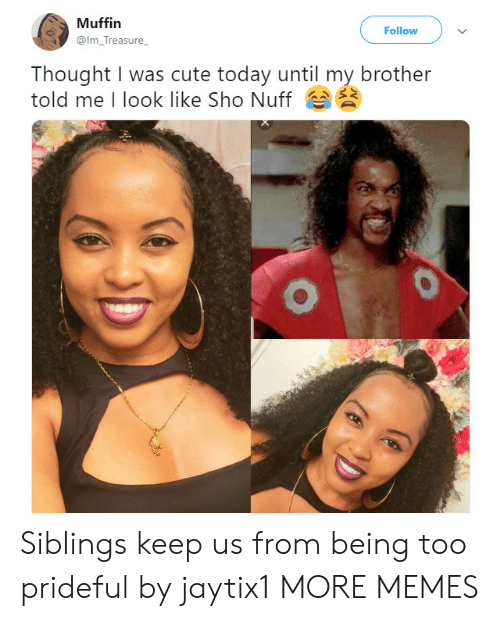 sho: Muffin  Follow  @Im_Treasure  Thought I was cute today until my brother  told me I look like Sho Nuff Siblings keep us from being too prideful by jaytix1 MORE MEMES