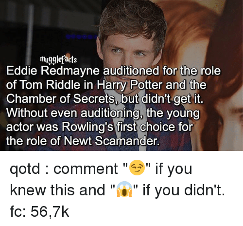 "tom riddle: muggle acts  die Redmayne auditioned for the role  of Tom Riddle in Harry Potter and the  Chamber of Secrets, but didn't get it  Without even auditioning, the young  actor was Rowling's first choice for  the role of Newt Scamander. qotd : comment ""😏"" if you knew this and ""😱"" if you didn't. fc: 56,7k"