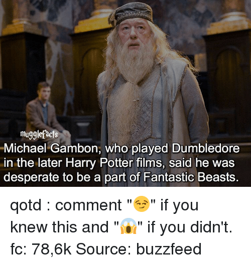"""Buzzfees: muggle facts  Michael Gambon, who played Dumbledore  in the later Harry Potter films, said he was  desperate to be a part of Fantastic Beasts qotd : comment """"😏"""" if you knew this and """"😱"""" if you didn't. fc: 78,6k Source: buzzfeed"""