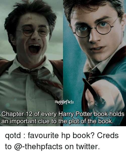 harry potter book: mugglefacts  Chapter 12 of every Harry Potter book holds  an important clue to the plot of the boolk qotd : favourite hp book? Creds to @-thehpfacts on twitter.