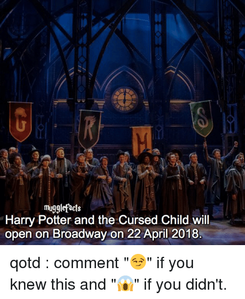 "April: mugglefacts  Harry Potter and the Cursed Child will  open on Broadway on 22 April 2018 qotd : comment ""😏"" if you knew this and ""😱"" if you didn't."