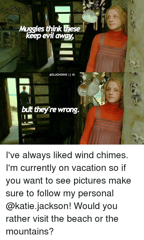 Memes, Would You Rather, and 🤖: Muggles  think these  keep evil away,  I IG  @SLUGHORNS  but theyre wrong. I've always liked wind chimes. I'm currently on vacation so if you want to see pictures make sure to follow my personal @katie.jackson! Would you rather visit the beach or the mountains?