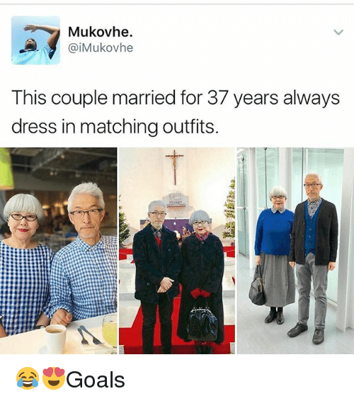 Memes, Dress, and 🤖: Mukovhe.  iMukovhe  This couple married for 37 years always  dress in matching outfits. 😂😍Goals