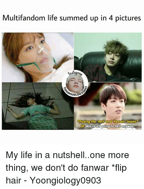 Heaven, Life, and Memes: Multifandom life summed up in 4 pictures  Pickina the helPand heaven teams  JK: Were all anyway  going to hel My life in a nutshell..one more thing, we don't do fanwar *flip hair  - Yoongiology0903