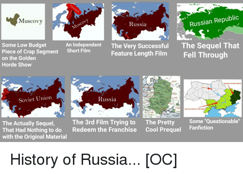 """Fanfiction, Budget, and Cool: Muscovy  Russia  Russian Republic  Some Low Budget  Piece of Crap Segment  on the Golden  Horde Show  An Independent  Short Film  The Very Successful  Feature Length Film  The Sequel That  Fell Through  Separatist controlled regions  Kiev  ir sara  Soviet Union  Russia  Licks  Total area claimed as """"New Russia  The Actually Sequel  That Had Nothing to do  with the Original Material  The 3rd Film Trying to  Redeem the Franchise  The Pretty  Cool Prequel  Some """"Questionable  Fanfiction"""
