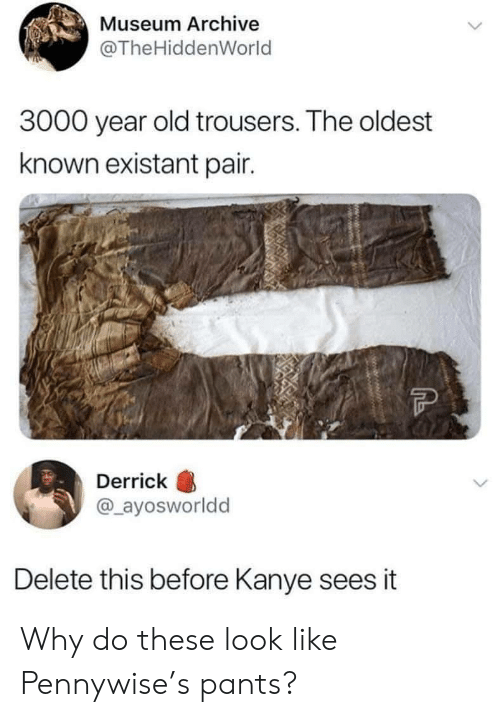 Oldest: Museum Archive  @The HiddenWorld  3000 year old trousers. The oldest  known existant pair.  Derrick  @_ayosworldd  Delete this before Kanye sees it  Mwwww. Why do these look like Pennywise's pants?