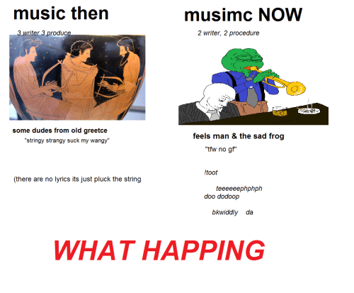 """sad frog: music then  musimc NOW  writer 3 produce  2 writer, 2 procedure  some dudes from old greetce  stringy strangy suck my wangy  feels man & the sad frog  """"tfw no gf""""  ltoot  (there are no lyrics its just pluck the string  teeeeeephphph  doo dodoop  bkwiddly da  WHAT HAPPING"""