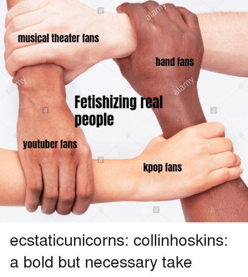 Tumblr, Blog, and Http: musical theater fans  al  band tans  Fetishizing real  people  youtuber fans  kpop tans ecstaticunicorns:  collinhoskins: a bold but necessary take