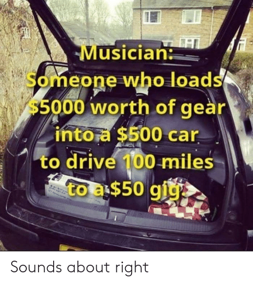 gear: Musician  Someone who loads  $5000 worth of geàr  intora $500 car  to drive 100 miles  to a$50 giy Sounds about right