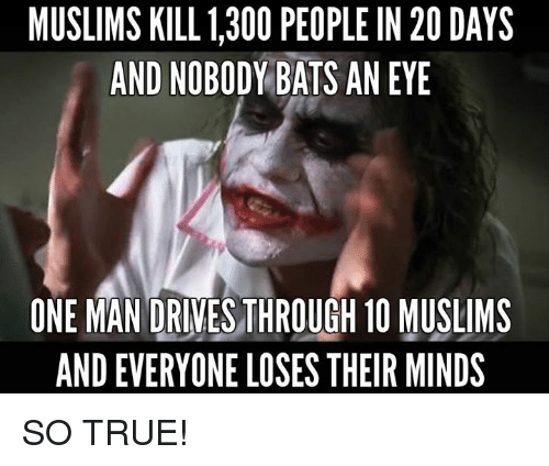 Memes, True, and 🤖: MUSLIMS KILL 1,300 PEOPLEIN 20 DAYS  AND NOBODY BATS AN EYE  ONE MAN DRIVES THROUGH 10 MUSLIMS  AND EVERYONE LOSES THEIR MINDS SO TRUE!