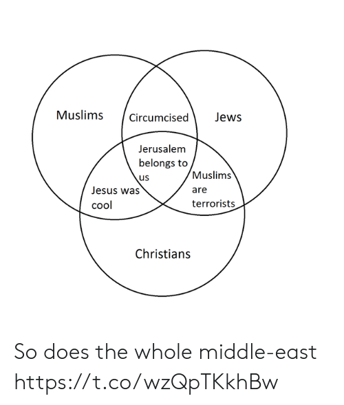 middle east: Muslimscircumcised Jews  Jerusalem  belongs to  us  Jesus was  cool  Muslims  are  terrorists  Christian:s So does the whole middle-east https://t.co/wzQpTKkhBw