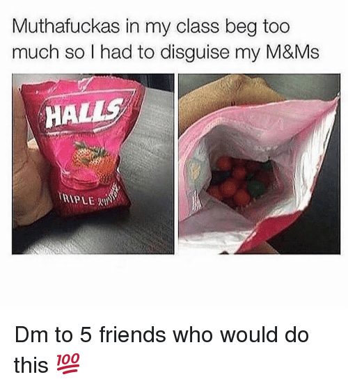 hal: Muthafuckas in my class beg too  much so l had to disguise my M&Ms  HAL Dm to 5 friends who would do this 💯