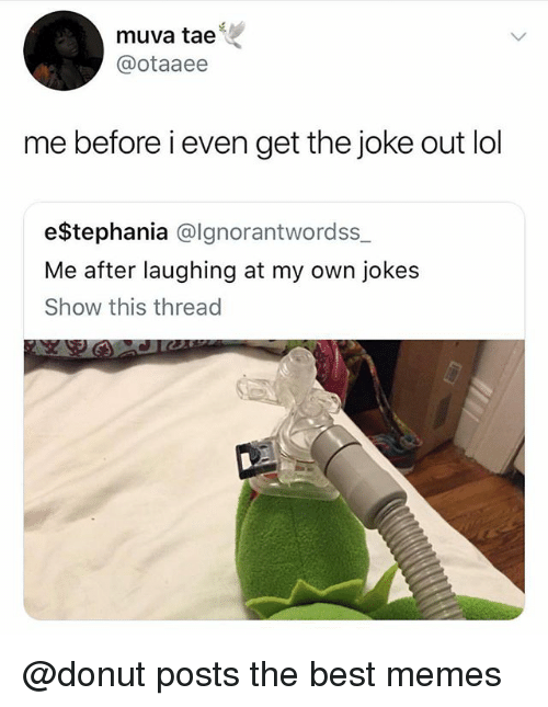 Lol, Memes, and Best: muva tae  @otaaee  me before i even get the joke out lol  e$tephania @lgnorantwordss  Me after laughing at my own jokes  Show this thread @donut posts the best memes