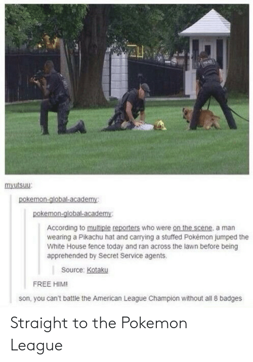 secret service: mxutsuu  According to multiple reporters who were on the scene, a man  wearing a Pikachu hat and carrying a stuffed Pokémon jumped the  White House fence today and ran across the lawn before being  apprehended by Secret Service agents.  Source: Kotaku  FREE HIM!  son, you can't battle the American League Champion without all 8 badges Straight to the Pokemon League