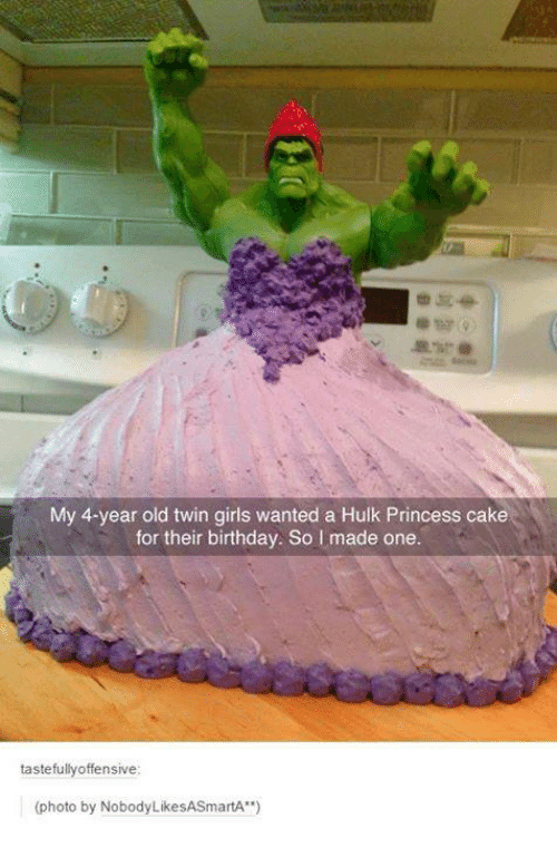 """Birthday: My 4-year old twin girls wanted a Hulk Princess cake  for their birthday. So I made one.  tastefully offensive  (photo by Nobody LikeSASmartA"""""""