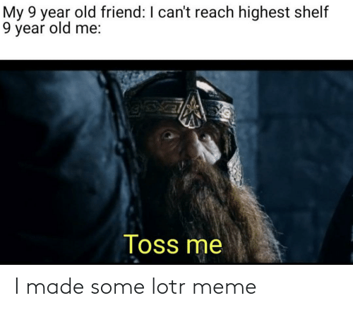 lotr meme: My 9 year old friend: I can't reach highest shelf  9 year old me:  Toss me I made some lotr meme