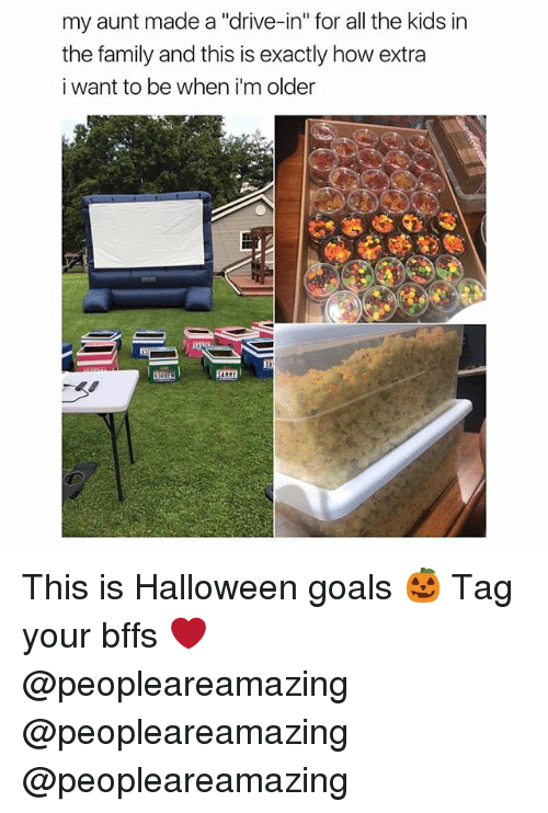"Family, Goals, and Halloween: my aunt made a ""drive-in"" for all the kids in  the family and this is exactly how extra  i want to be when i'm older This is Halloween goals 🎃 Tag your bffs ❤️ @peopleareamazing @peopleareamazing @peopleareamazing"