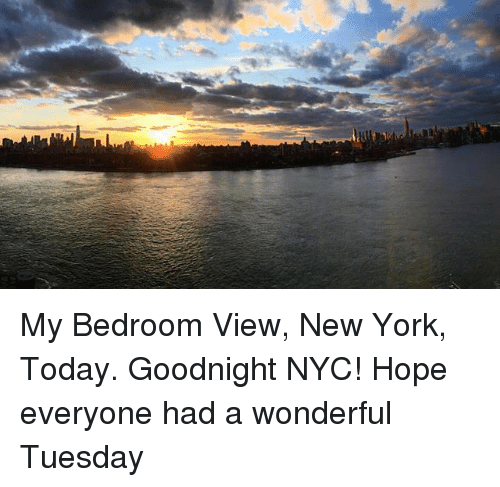 Memes, New York, and Today: My Bedroom View, New York, Today. Goodnight NYC! Hope everyone had a wonderful Tuesday