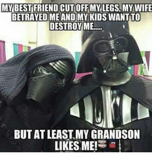 Best Friend, Friends, and Star Wars: MY BEST FRIEND CUTOFF MY LEGS MY WIFE  BETRAYED ME AND MY KIDS  WANTTO  DESTROY ME  BUTAT LEAST MY GRANDSON  LIKES ME!