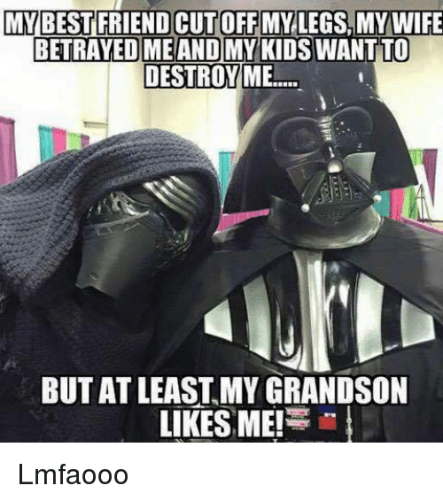 Dank Memes: MY BEST FRIEND CUTOFFMY LEGS MY WIFE  BETRAYED ME AND MY KIDSWANTTO  DESTROY ME  BUT ATLEAST MY GRANDSON  LIKES ME! Lmfaooo