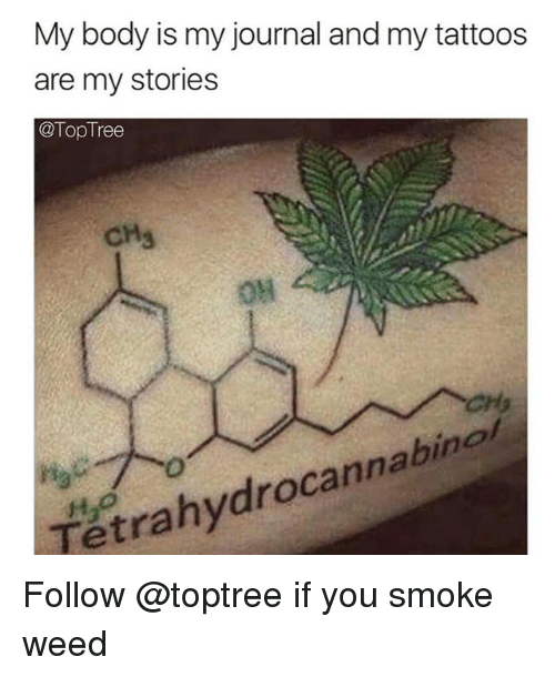 my stories: My body is my journal and my tattoos  are my stories  @TopTree  CH3  O%H  04  Tétrahydrocannabinat Follow @toptree if you smoke weed