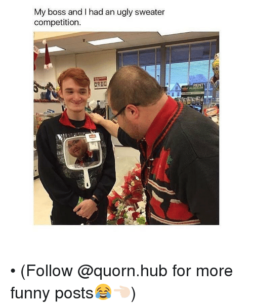 ugly sweaters: My boss and had an ugly sweater  competition • (Follow @quorn.hub for more funny posts😂👈🏻)