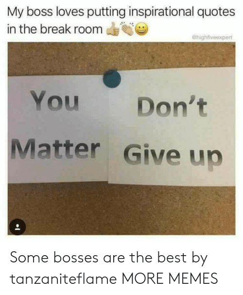 dont matter: My boss loves putting inspirational quotes  in the break room  @highfiveexpert  You  Don't  Matter Give up Some bosses are the best by tanzaniteflame MORE MEMES